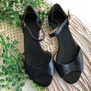 MADEWELL Black Leather Flat Ankle Strap Sandals 6